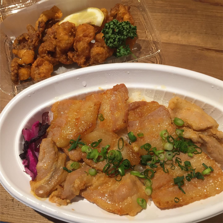 今日のお昼。  @gaten.shinnosuke さんの味噌漬け豚肉の炒め物丼とタコの唐揚げ。